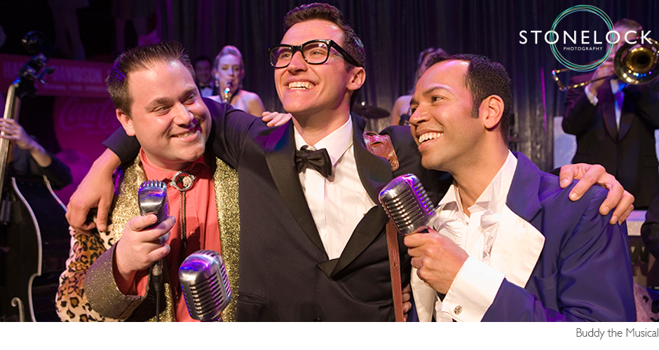 Buddy Holly the Musical finale, Buddy with the Big Bopper and Richie Valens