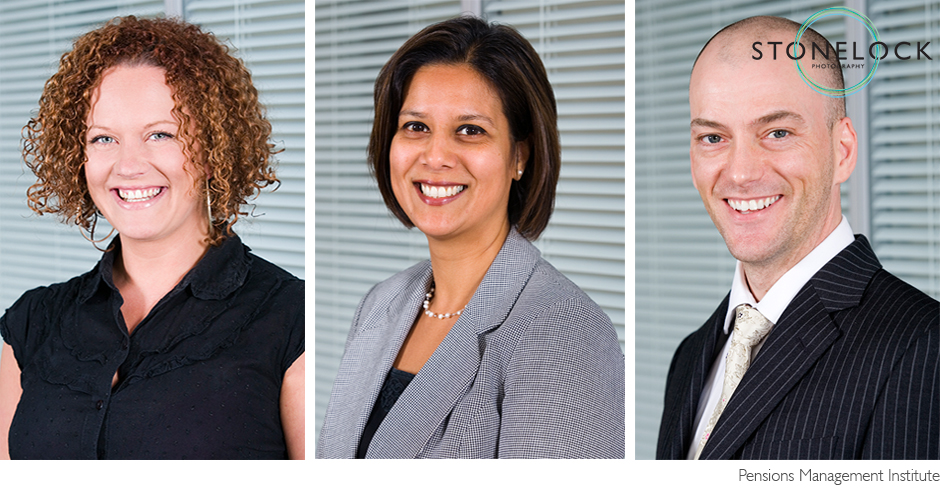 Three corporate head shots of men and women all looking at the camera