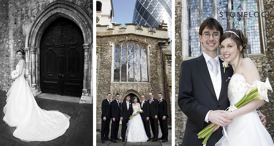 The bride and groom and wedding party photos outside St Helen's Church in Bishopsgate