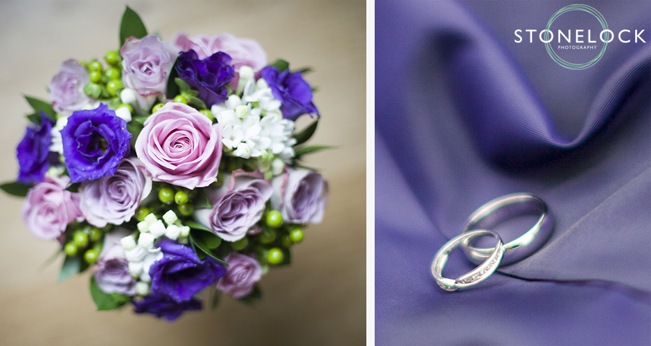 Detail shots of the bridal flowers and wedding rings