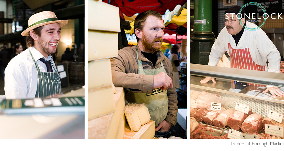 Stall holders at Borough Market stand in front of their stalls with their products