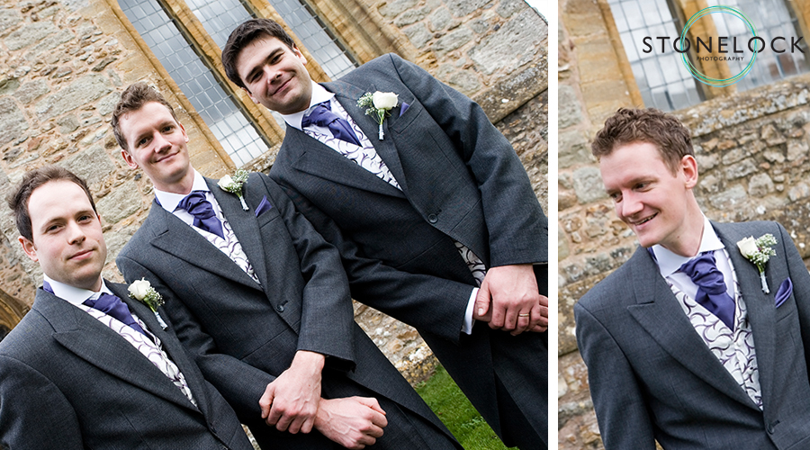 A groom and his best men pose in front of the Church