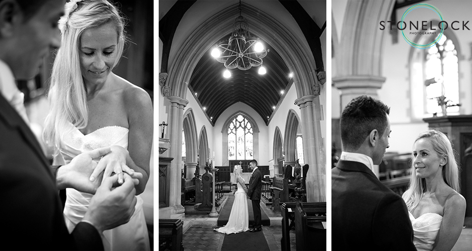 A bride and groom say the vows of their marriage ceremony inside a traditional English Church