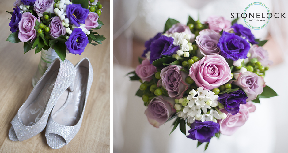 A brides wedding flowers and shoes