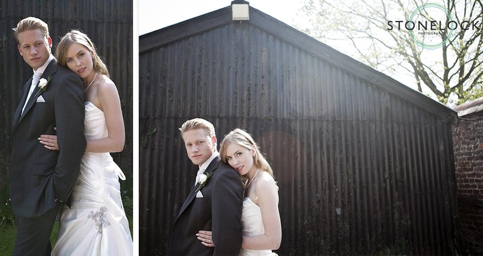 A bride leans on her husbands shoulder