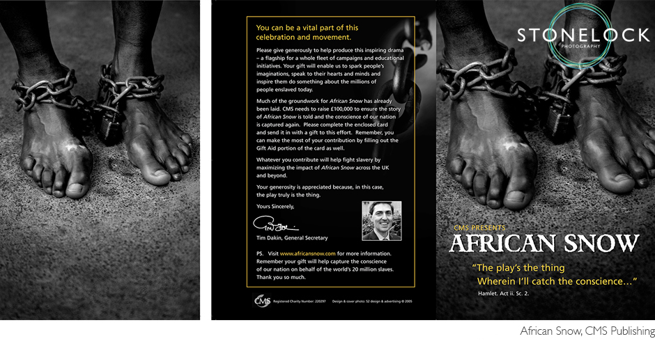 A leaflet for African Snow by CMS showing a mans ankles chained together