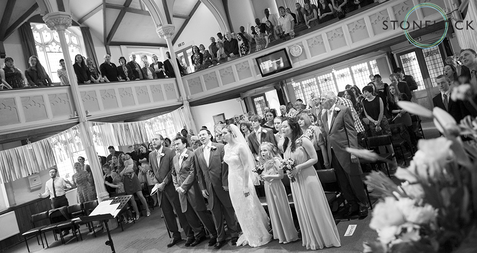 A full Church witnessing the wedding ceremony