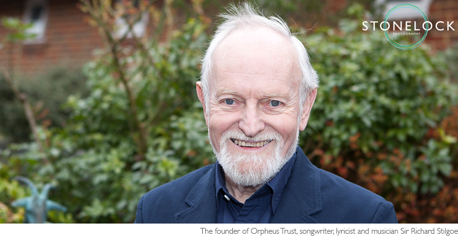 Richard Stilgoe, songwriter and founder of the Orpheus Trust, portrait photography outside
