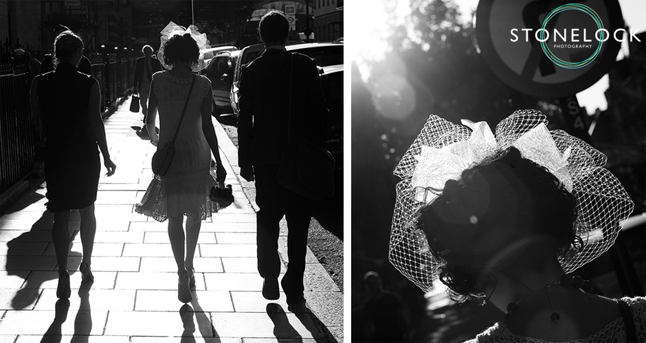 The bride walks away from the camera and into the setting sun creating a silhouette