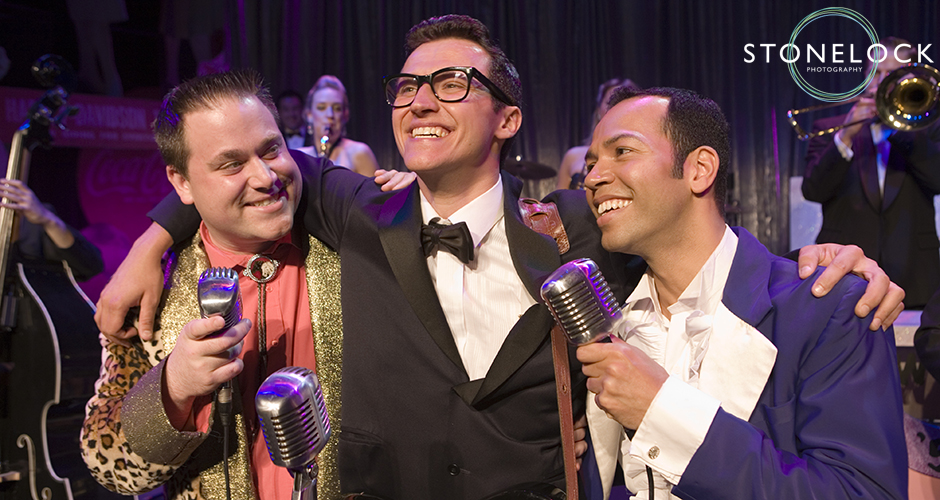 Buddy Holly the Musical finales, Buddy with the Big Bopper and Richie Valens