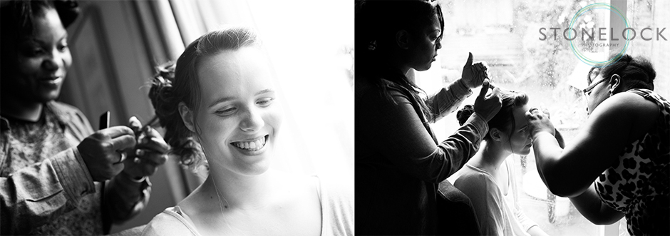 A bride getting ready for her wedding day, black and white, make-up artist & hairdresser