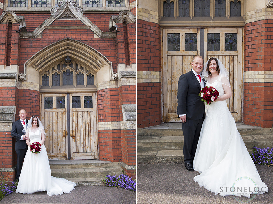 The bride and groom pose for photos outside of Mitcham Lane Baptist Church