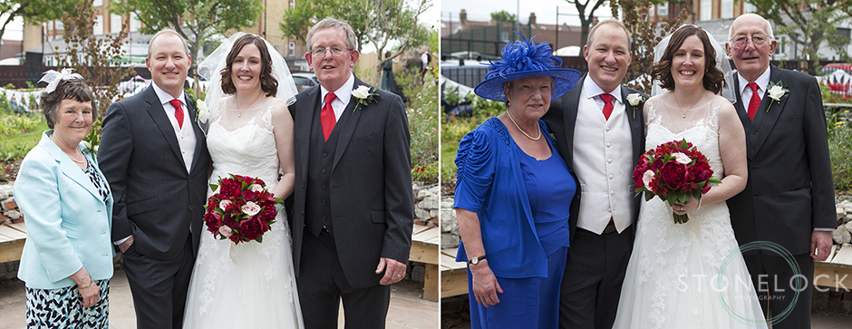 The bride and groom posed for formal wedding photos with their parents
