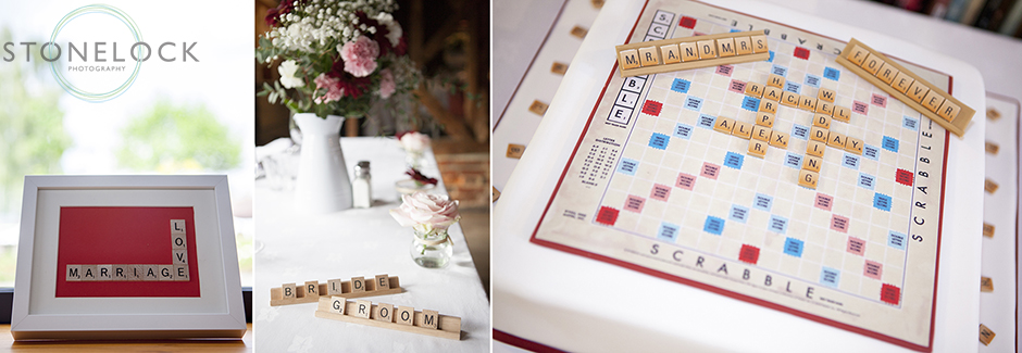 The scrabble decorations at the wedding, the wedding cake made in the style of a scrabble board