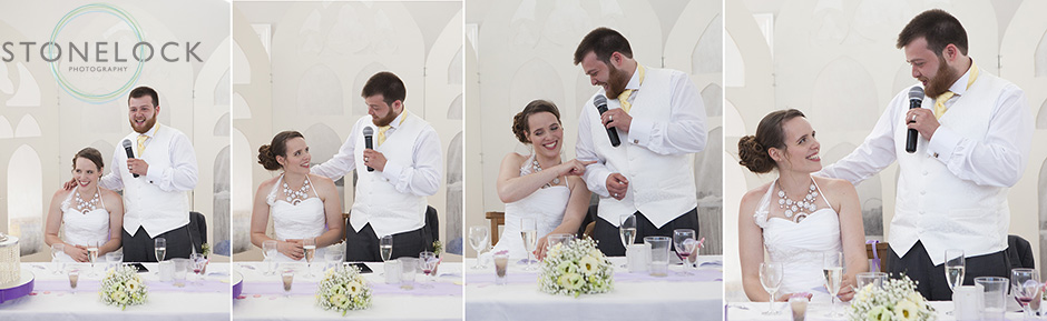 Photos showing the interaction between the bride and groom as he gives his wedding speech