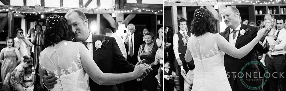 The bride and grooms first dance shot in black & white