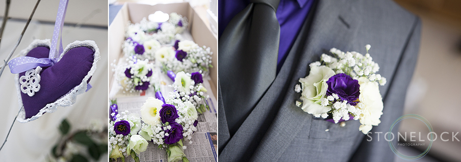 Photos of wedding flowers, the bridesmaids bouquets and the button holes, the flowers a re purple and white