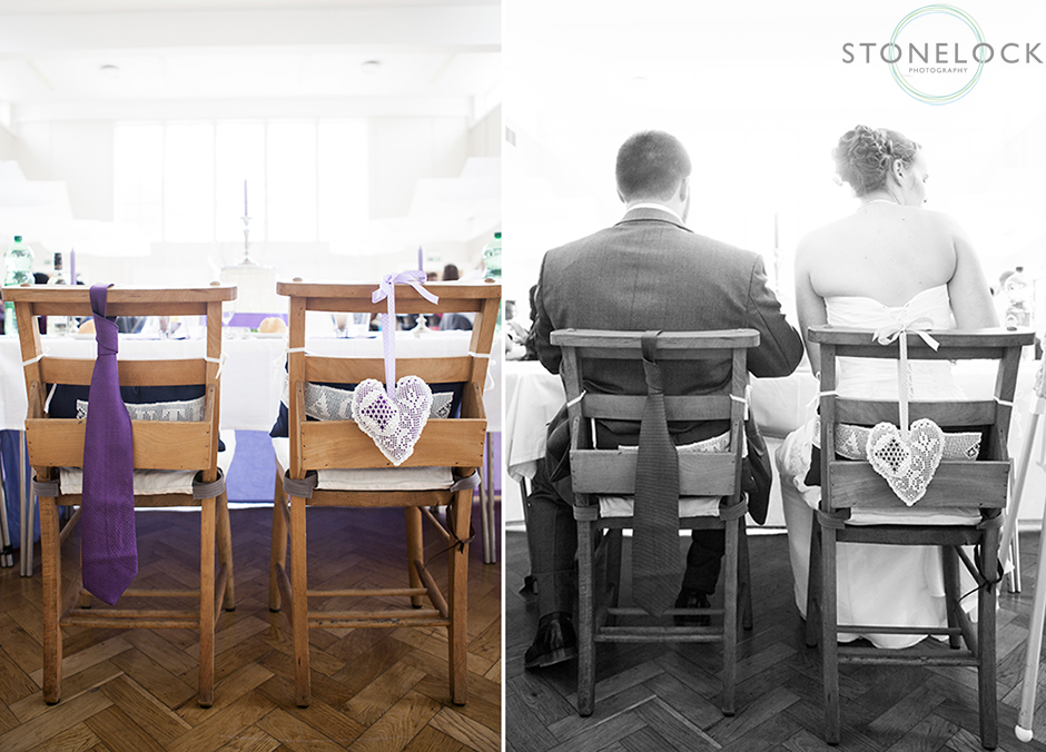 The bride and groom's chairs for the wedding breakfast