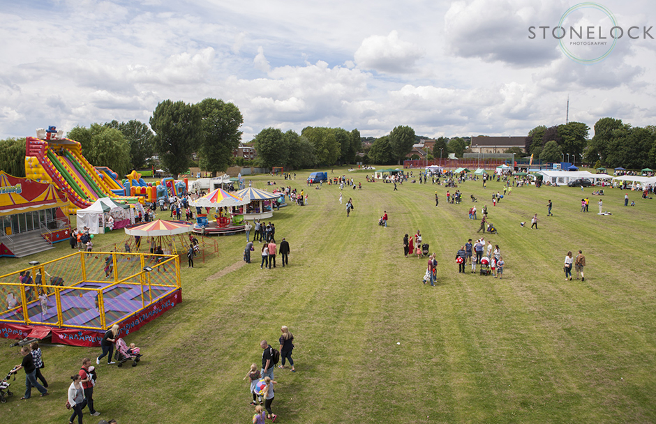An overview of the South Norwood Community Festival 2014 held on the recreation ground, the photo is shot from above