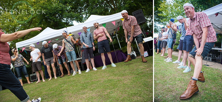 A group of men line up for a knobbly knees competition at Vintage up the Palace in Crystal Palace Park as part of the Crystal Palace Overground Festival