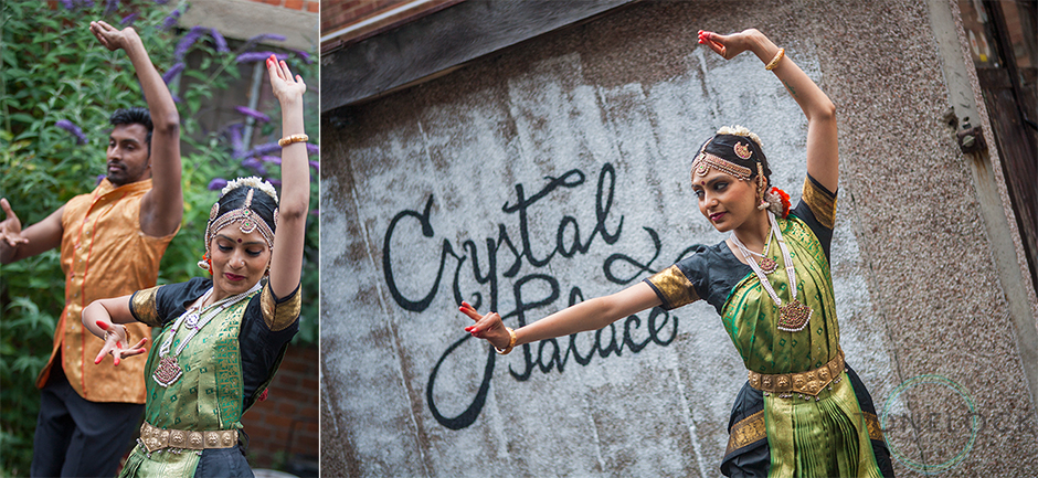 Bollywood dancers at the Crystal Palace Overground Festival perform in Haynes Lane underneath a graffiti Crystal Palace sign