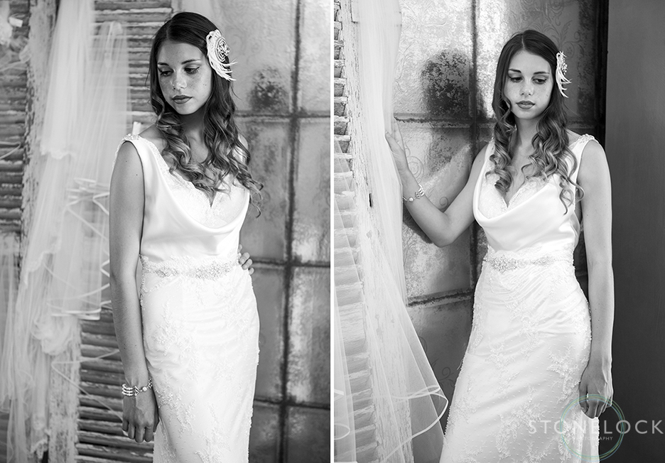 A model wears Lusan Mandongus 2217B wedding dress at Helena Fortley Bridal Boutique in Caterham, Surrey