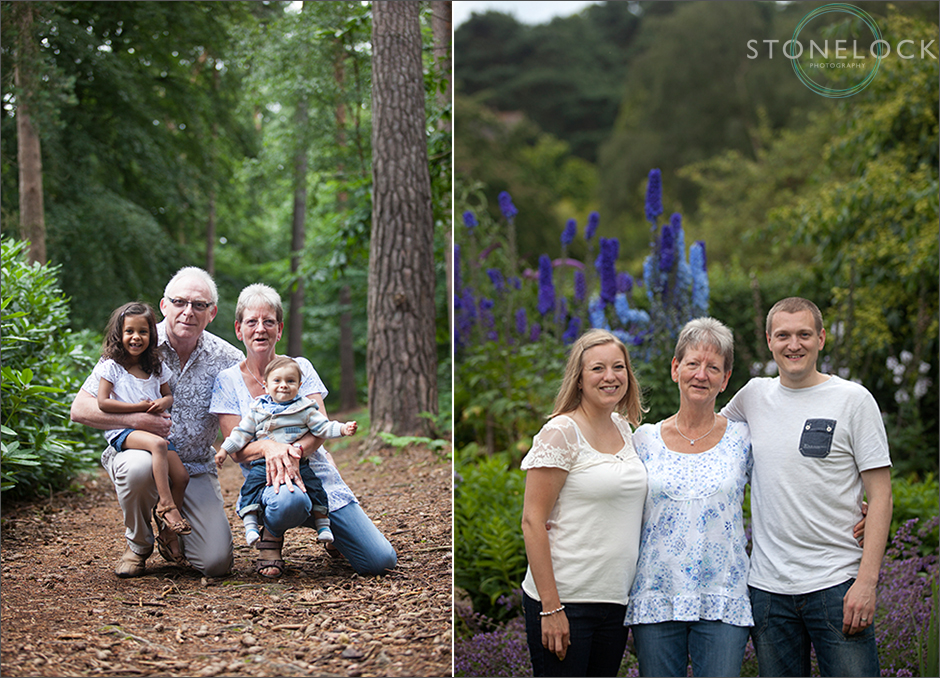 A grandmother with her adult children at Coombe Wood in Croydon and also with her husband and grandchildren, a girl and a boy