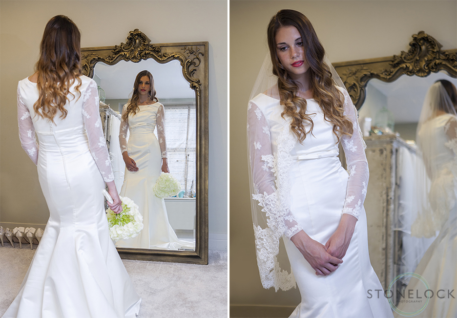 A model wears Lou Lou emilia, long sleeve wedding dress at Helena Fortley Bridal Boutique in Caterham, Surrey