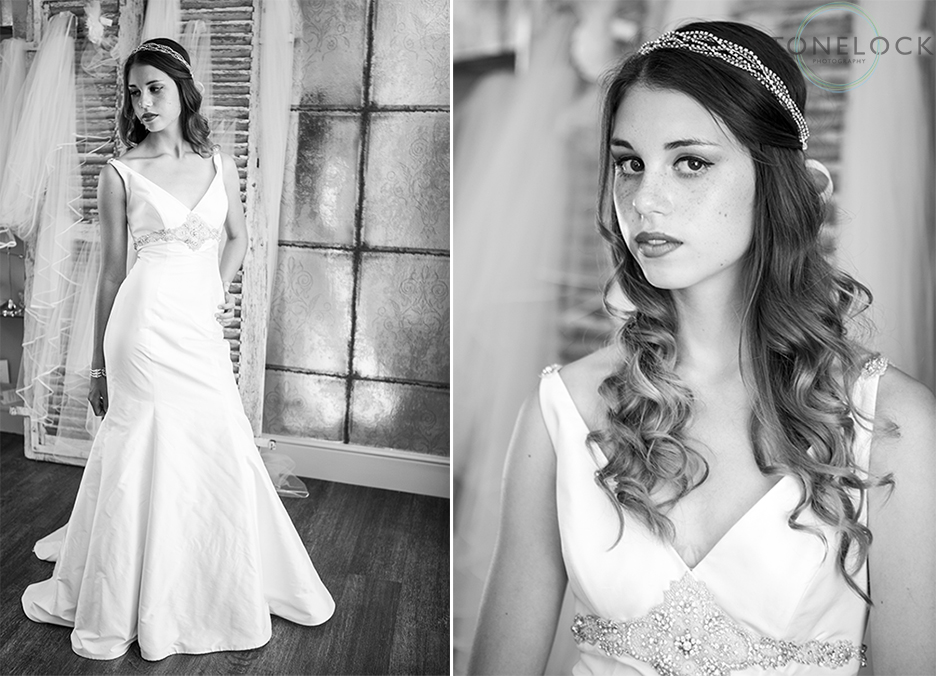 A model wears Lou Lou Louis wedding dress at Helena Fortley Bridal Boutique in Caterham, Surrey