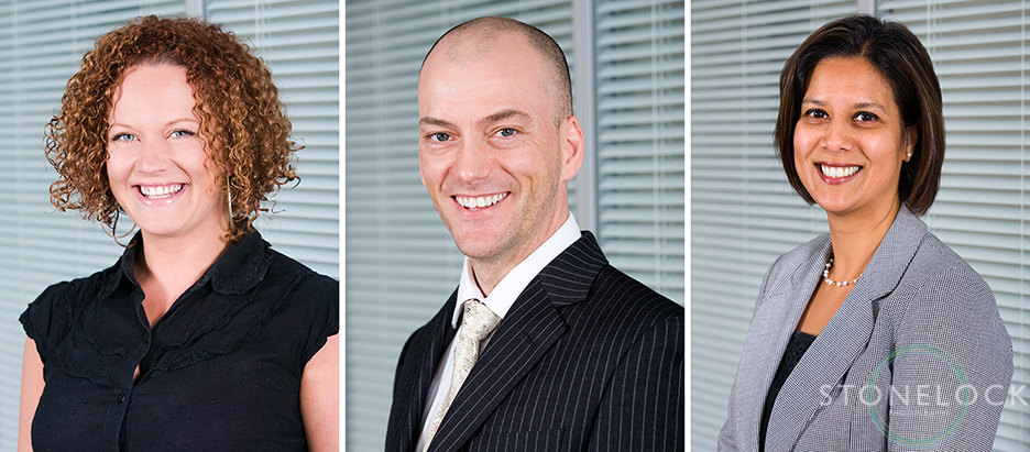 Three professional business head shots profile photos for use on websites and social media