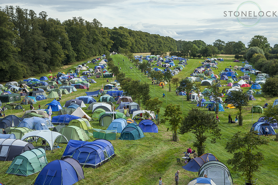 The Greenbelt campsite shot from the fire safety tower giving an almost birds eye view of the tents