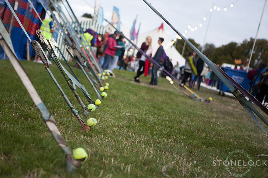 Creative tent pegs with tennis balls on them to stop people tripping over