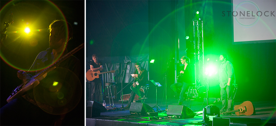 Two photos with light flare shot at Greenbelt Arts Festival, one is from the Rising with Martin Joseph, a bright green light shines right into the camera