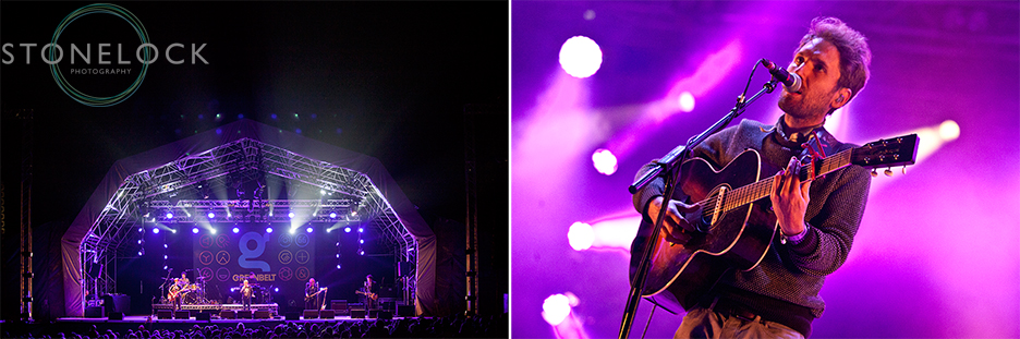 Performers on the MainStage at Greenbelt Arts Festival, one shot is wide angle showing the whole stage, lights and crowd, the other is a close up of the singer from the band Stornoway