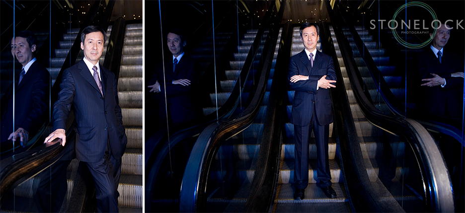 Joseph Wan the Chief Executive of Harvey Nichols stands on the escalators for a corporate headshot