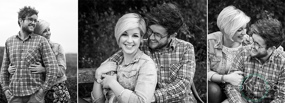 Black and white engagement portraits of a young couple in Bristol