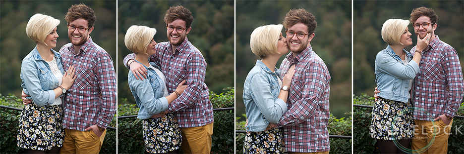 A couple have fun on an engagement photo shoot in Clifton, Bristol, they laugh and pull faces for the camera