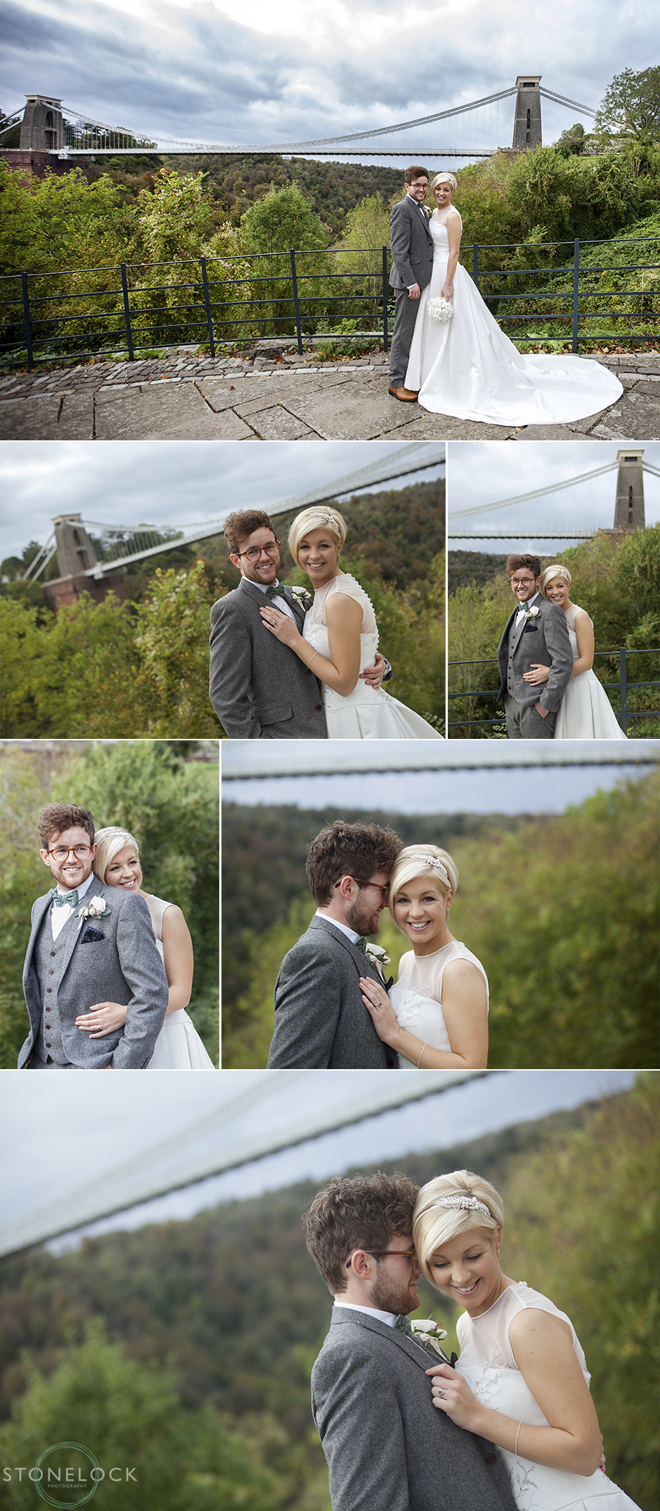 The bride and groom pose for their wedding photography beside the Clifton Suspension Bridge in Bristol