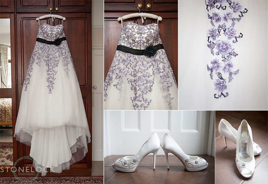 A photo of the brides wedding dress and wedding shoes