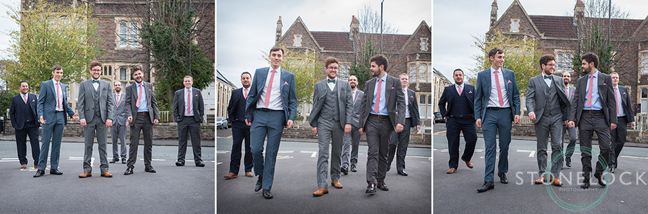 The groom and groomsmen walk to the Church on wedding day in Bristol