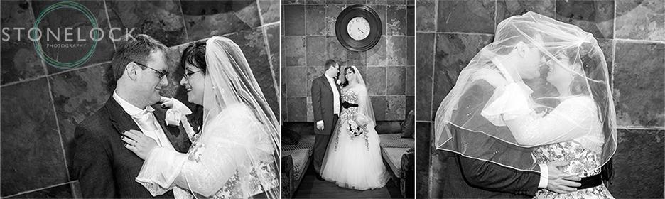 The bride and gorrom pose for their wedding photos
