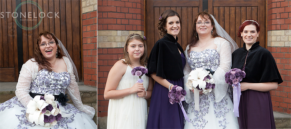 The bride and her bridesmaids outside the Church