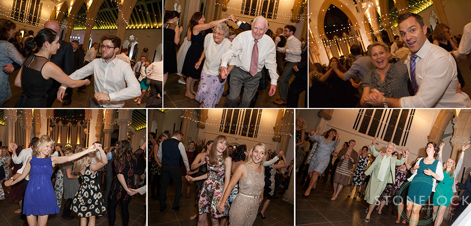 ceilidh dancing at the wedding reception at St Mary Magdelene in Bristol