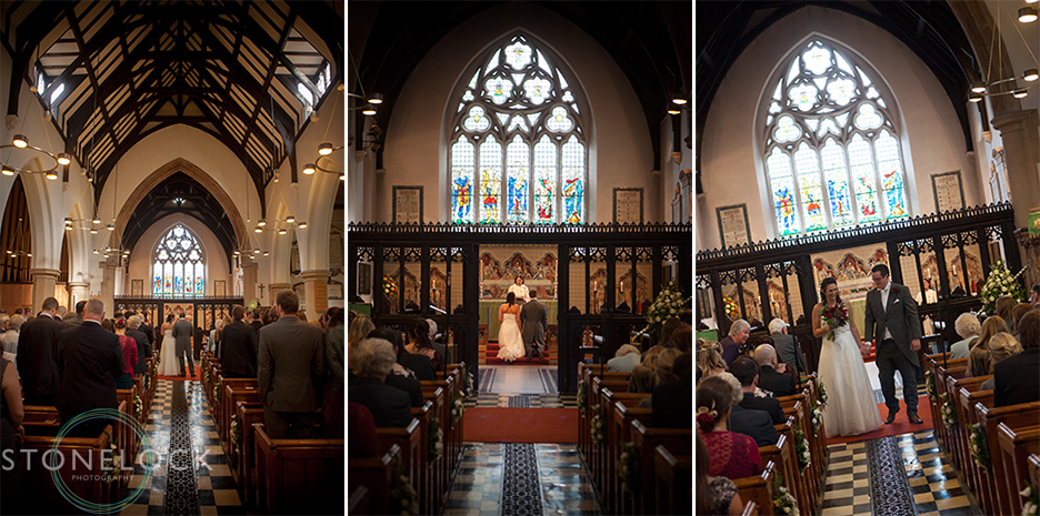 The wedding ceremony at St Mary's Church in Ewell village