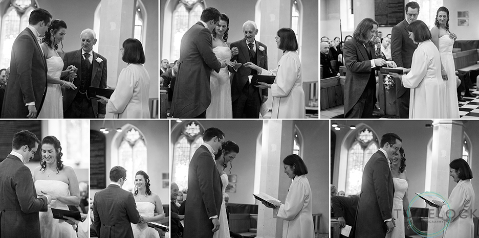 The wedding ceremony at St Mary's Church in Ewell village, Surrey