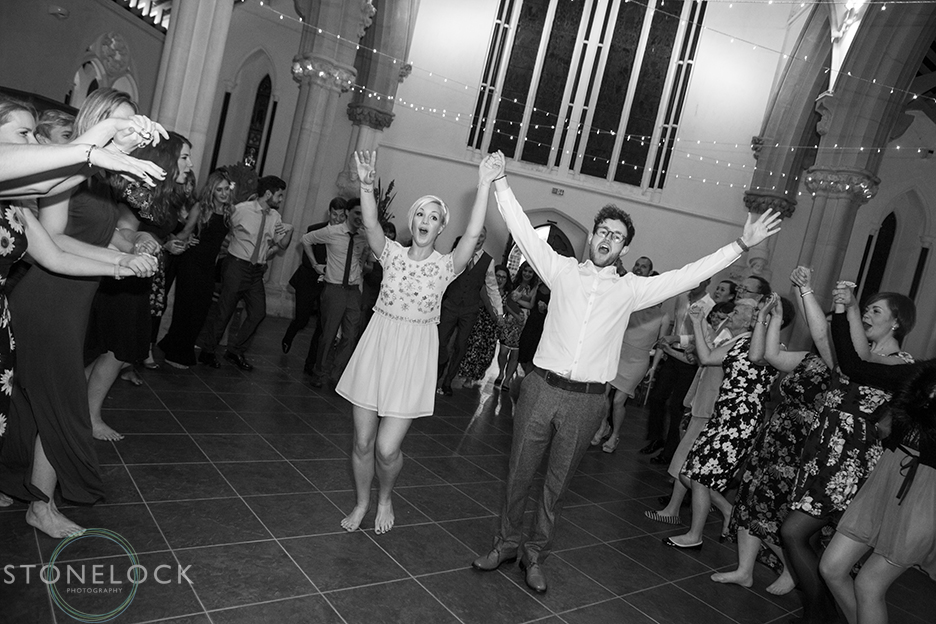 A photo of the bride and groom\s first dance at their wedding reception at St Mary Magdelene in Bristol