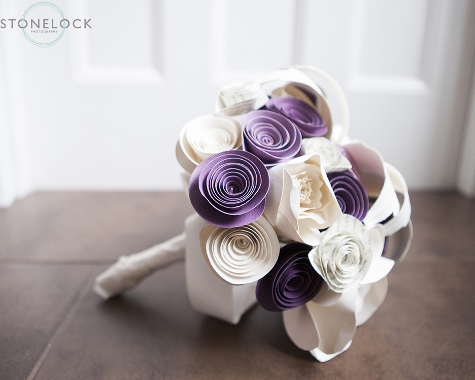 A photograph of the brides wedding bouquet that is made out of paper