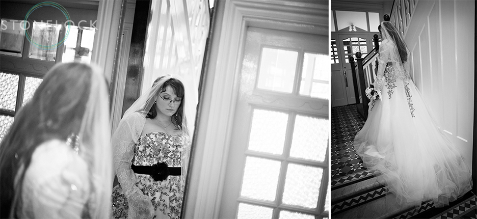 The bride poses in her dress before leaving for the wedding ceremony