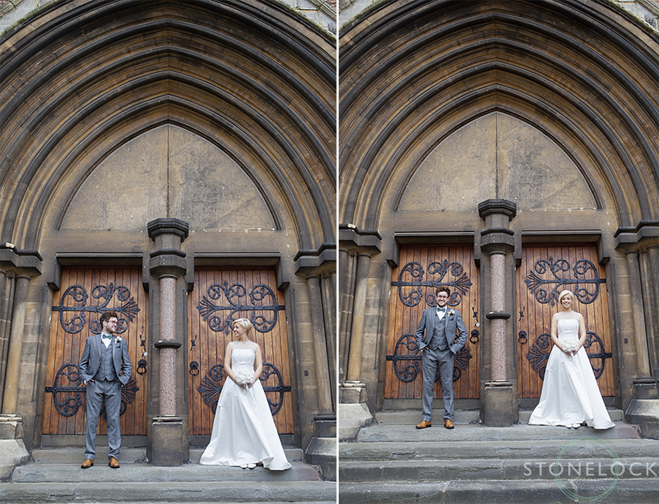 The bride and groom pose for some wedding photos outside Woodlands Church in Bristol after their wedding ceremony. The photos are in colour.
