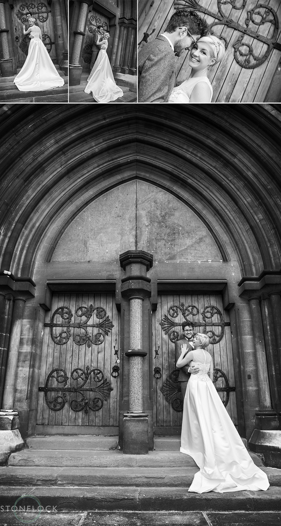 The bride and groom pose for some wedding photos outside Woodlands Church in Bristol after their wedding ceremony. The photos are in black and white.